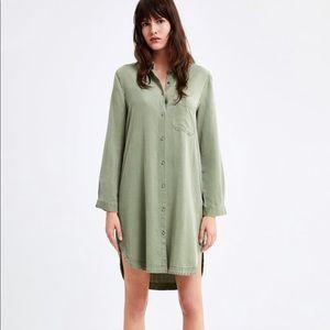 ZARA | LONG BUTTON UP SHIRT DRESS